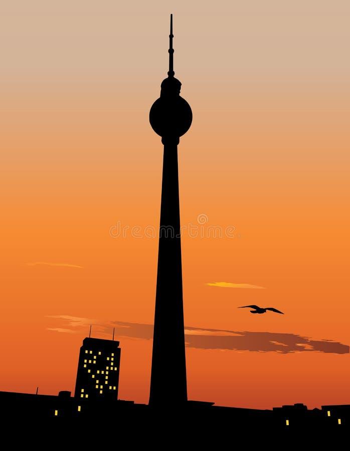 Céu do por do sol do agaist da torre da tevê de Berlim ilustração royalty free