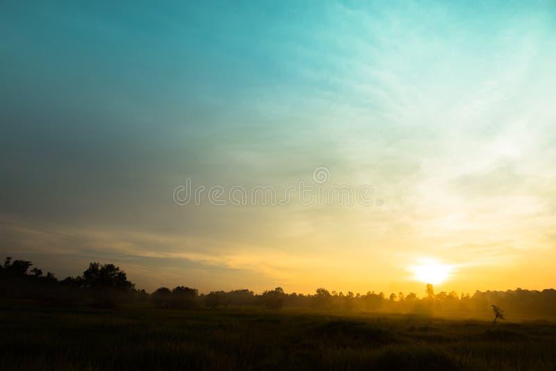 Céu do por do sol sobre o campo para o projeto do fundo fotografia de stock