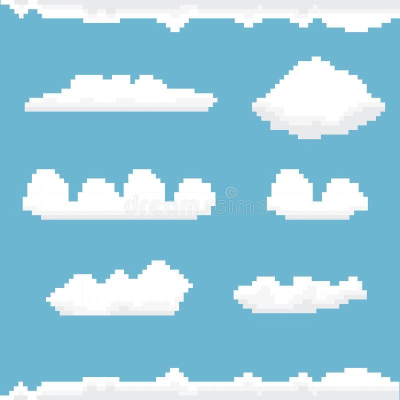 Céu do vetor com fundo da arte do pixel das nuvens ilustração do vetor