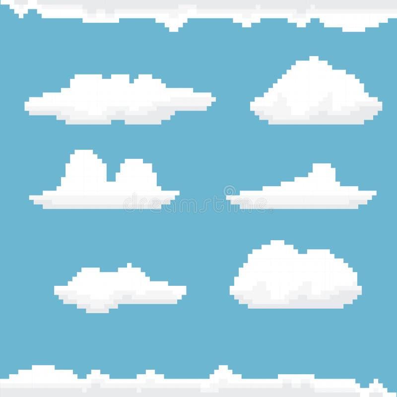 Céu do vetor com fundo da arte do pixel das nuvens ilustração stock