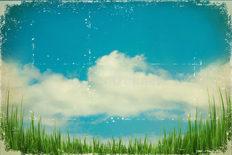 Céu do vintage. Fundo da natureza na textura de papel velha imagem de stock
