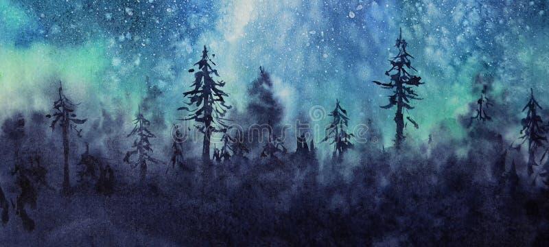 Céu e estrelas da Aurora da paisagem do inverno da aquarela ilustração stock
