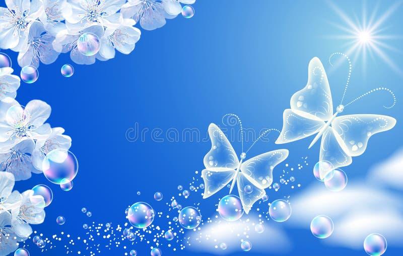 Céu e flores brancas ilustração royalty free