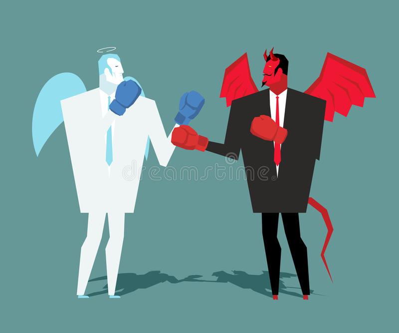 Céu e inferno da batalha Anjo e combate do demônio Satã e anjo ilustração do vetor