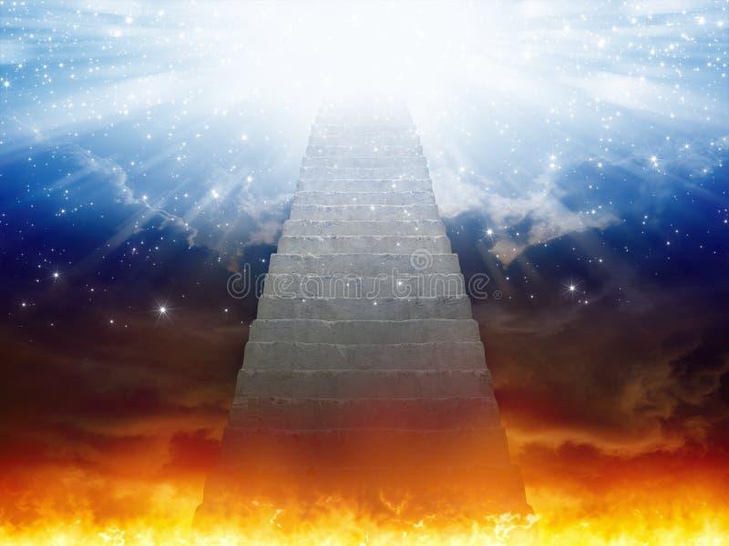 Céu e inferno, escadaria ao céu, luz da esperança da SK azul ilustração stock