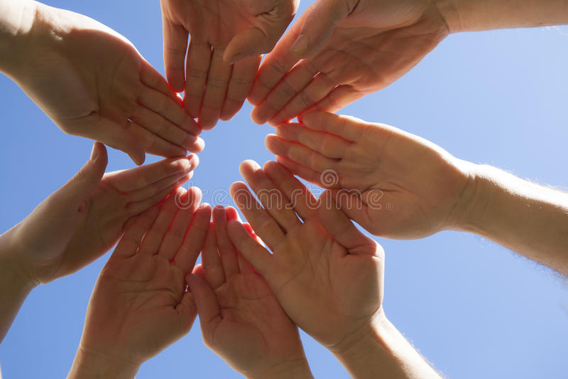 Céu e mãos imagens de stock
