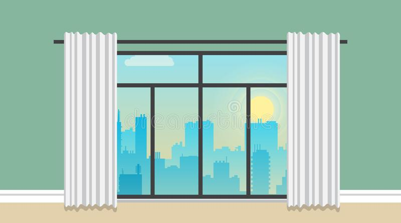Céu e nuvens da manhã sobre a arquitetura da cidade do vetor da silhueta da cidade ilustração do vetor
