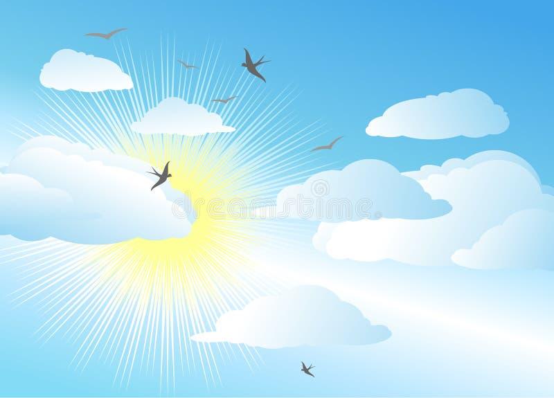 Céu e sol/fundo do vetor ilustração do vetor