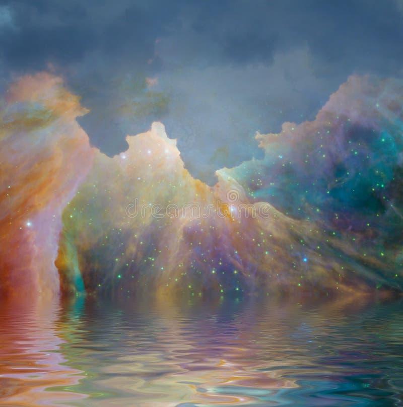 Céu estrelado e água ilustração do vetor