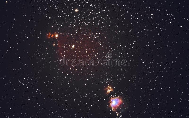 Céu estrelado e Orion Nebula foto de stock
