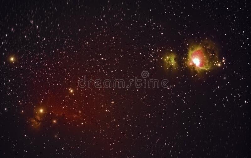 Céu estrelado e Orion Nebula imagem de stock