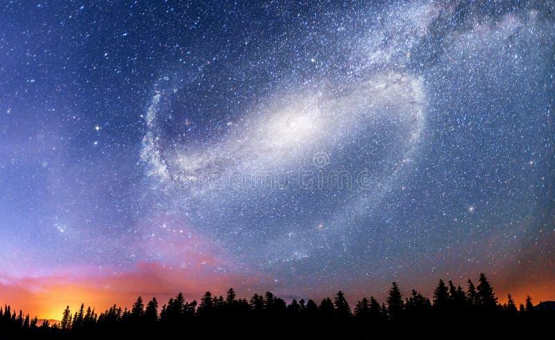 Céu estrelado fantástico e a Via Látea acima dos pináculos dos pinhos Cortesia da NASA imagem de stock