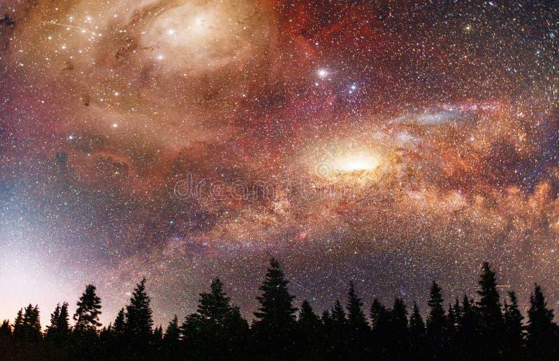Céu estrelado fantástico e a Via Látea acima dos pináculos dos pinhos Cortesia da NASA imagens de stock royalty free