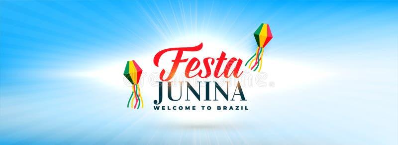 Céu limpo com a bandeira decorativa das lâmpadas do junina do festa ilustração do vetor