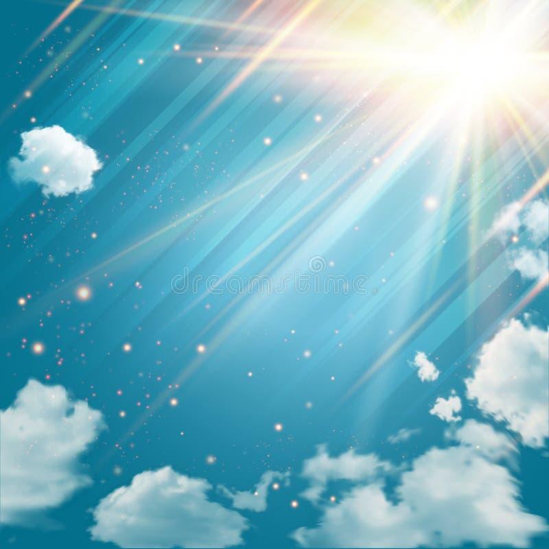 Céu mágico com estrelas e raios de luz de brilho. ilustração do vetor