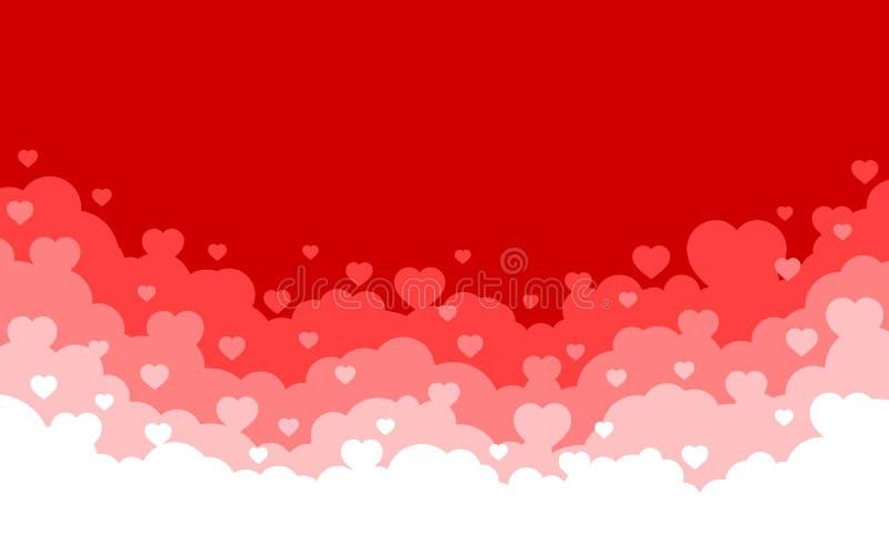 Céu nebuloso com fundo vermelho dos corações Cart?o do feriado do dia de Valentim Projeto liso do estilo dos desenhos animados Il ilustração do vetor