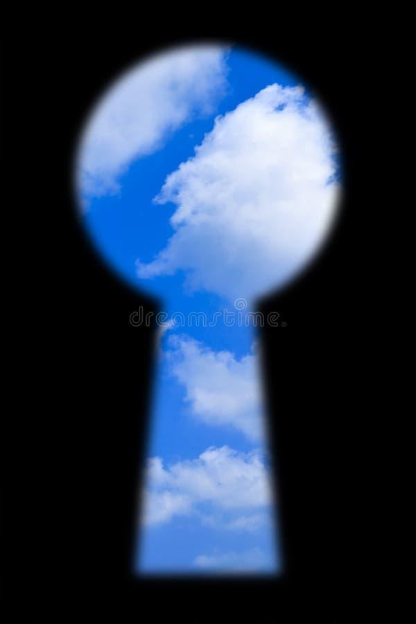 Céu no buraco da fechadura imagens de stock