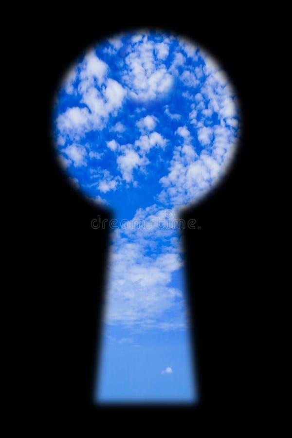 Céu no buraco da fechadura fotos de stock