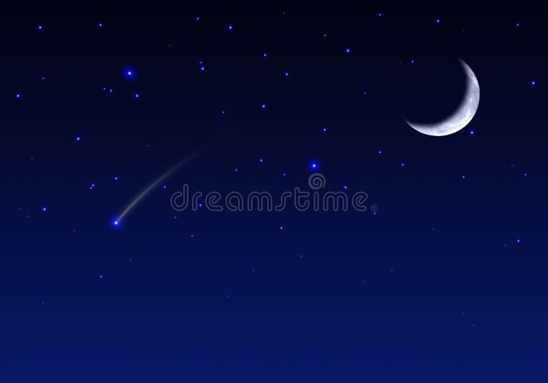 Céu nocturno com estrelas e meteoro da lua ilustração stock
