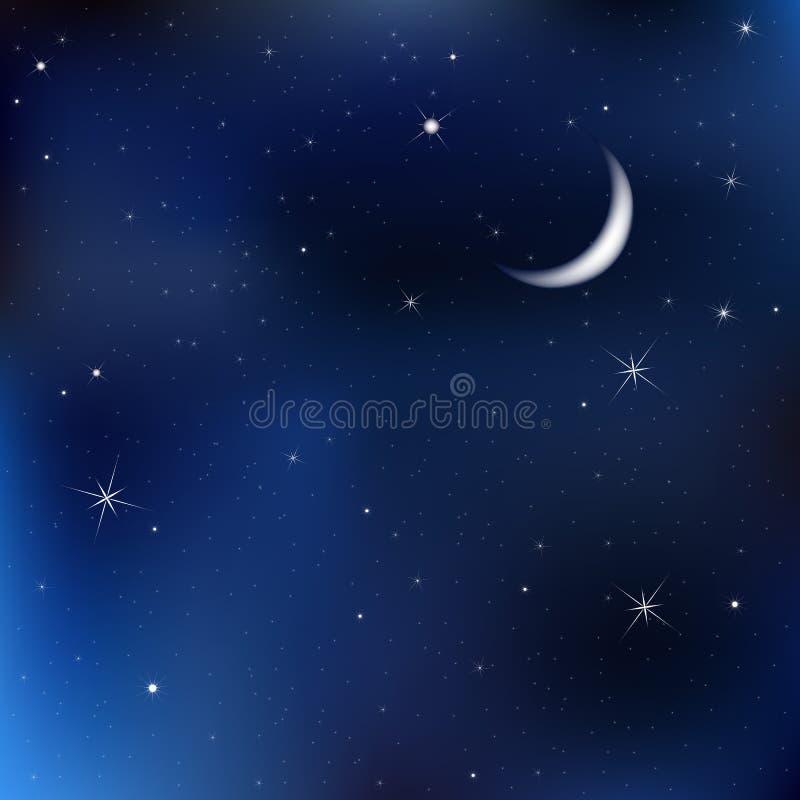 Céu nocturno com lua e estrelas ilustração stock