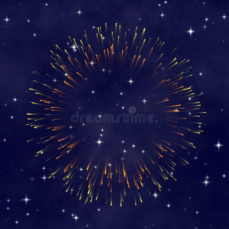 Céu nocturno da estrela com fogo-de-artifício ilustração do vetor