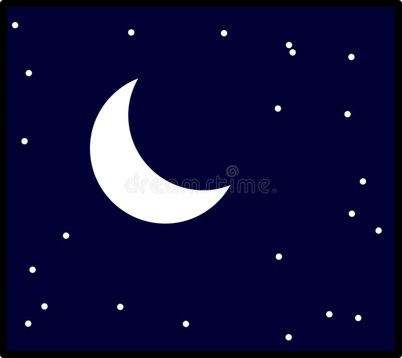Céu nocturno da lua do vetor com ilustração das estrelas ilustração royalty free