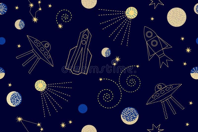 Céu nocturno Teste padrão sem emenda do vetor com constelações, foguetes,