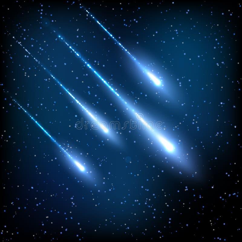 Céu noturno azul com estrelas de tiro ilustração royalty free
