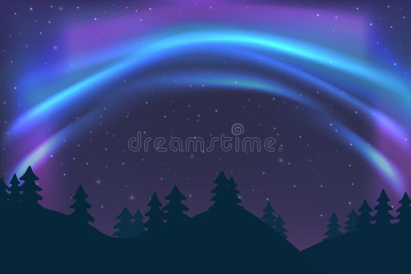 Céu noturno com Aurora sobre a floresta do abeto vermelho no inverno, luz do norte azul com estrelas, incandescência clara polar, ilustração do vetor