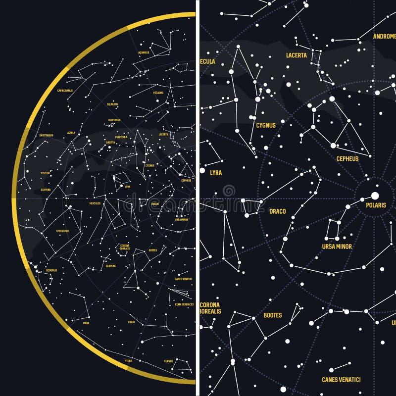 Céu noturno com constelações imagens de stock