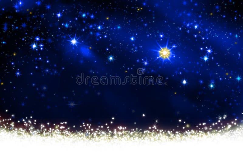 Céu noturno com estrelas coloridas e neve branca ilustração do vetor