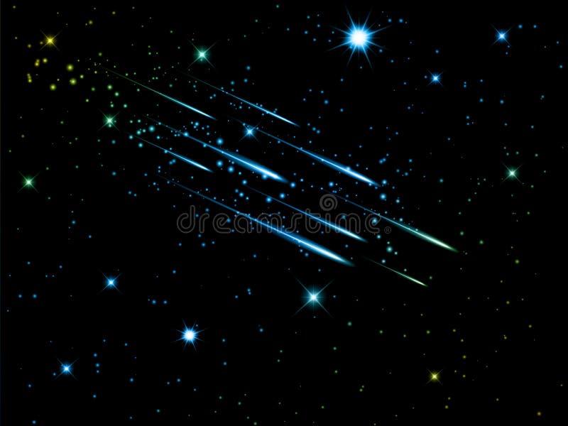 Céu noturno com estrelas de tiro ilustração stock