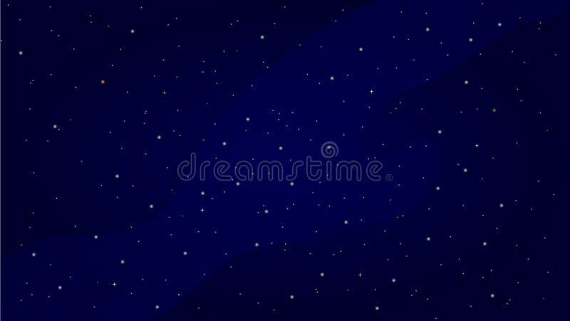 Céu noturno com estrelas e ilustração da Via Látea ilustração do vetor