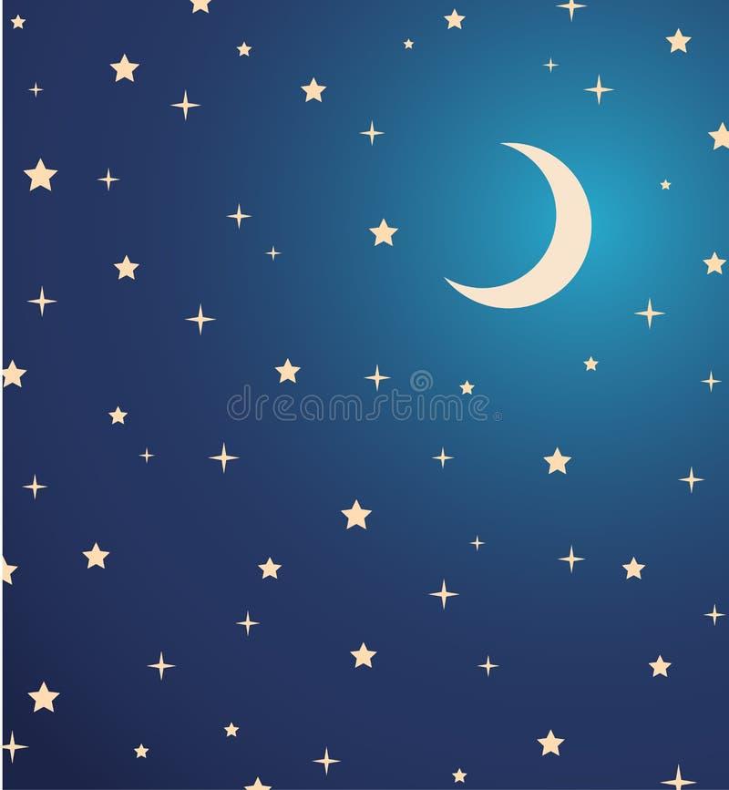 Céu noturno com estrelas e lua.  ilustração ilustração royalty free