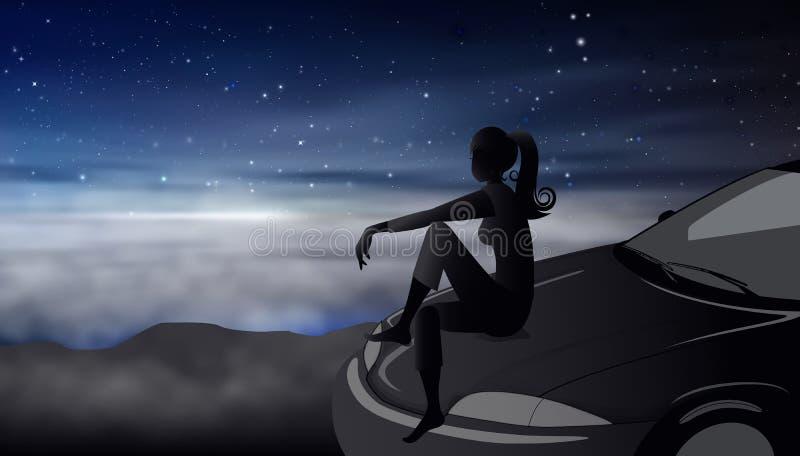 Céu noturno com a silhueta da menina das estrelas em um sonho da capa do carro ilustração stock