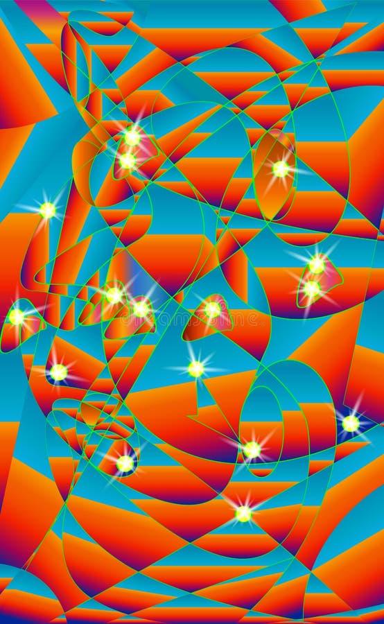 Céu noturno do estilo do vidro colorido Lanternas abstratas borradas, no fundo azul Estrelas, com nuvens Vetor, illustra do céu d ilustração royalty free