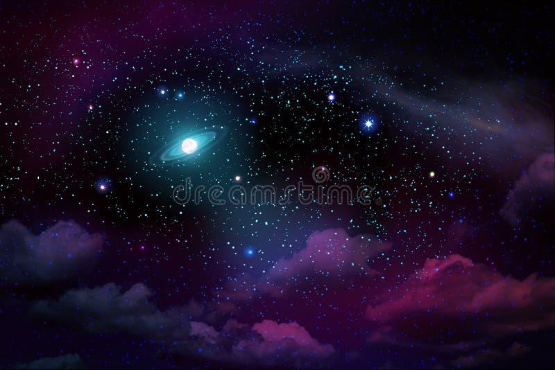 Céu noturno escuro com muitas estrelas e Lua cheia ilustração royalty free