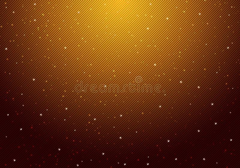 Céu noturno estrelado brilhando à noite com estrelas infinito espaço universo e luz estelar sobre luz amarela e fundo preto com d ilustração stock