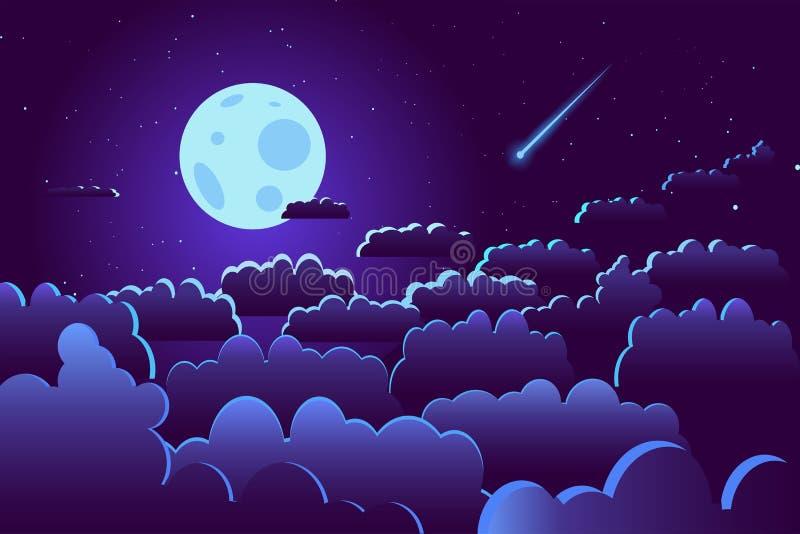 Céu noturno estrelado com vetor da ilustração da lua e das nuvens Lua cheia acima das nuvens entre estrelas com estrela de tiro ilustração stock