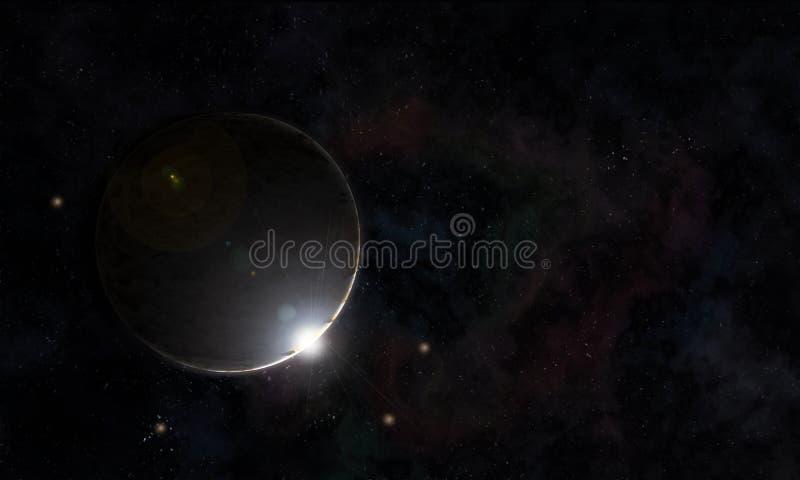 Céu noturno estrelado planet-3 do fundo fotografia de stock royalty free