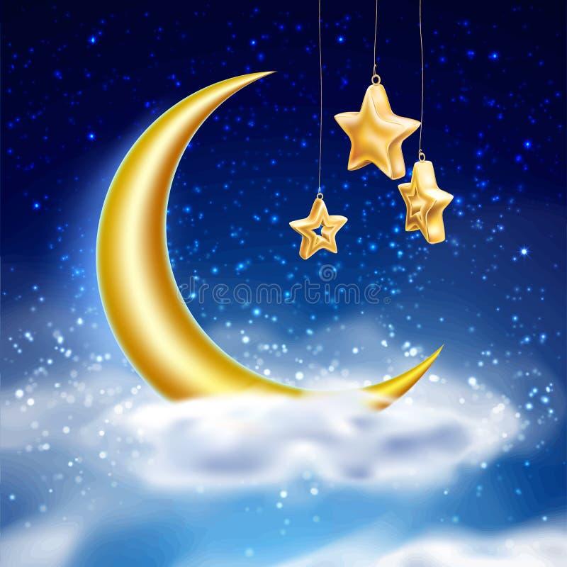 Céu noturno mágico do vetor com a nuvem de estrelas da lua ilustração royalty free