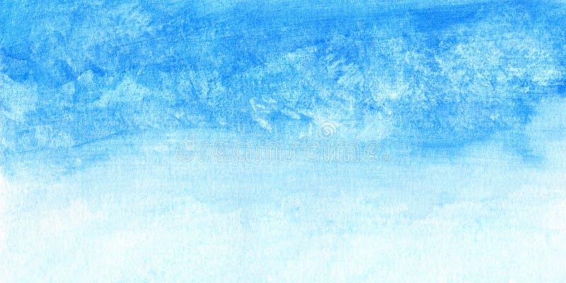 Céu pintado à mão da aquarela e nuvens, fundo abstrato da aquarela, ilustração feita a varredura ilustração stock