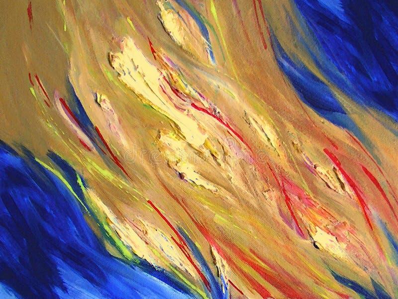 Céu pintado com incêndio ilustração stock