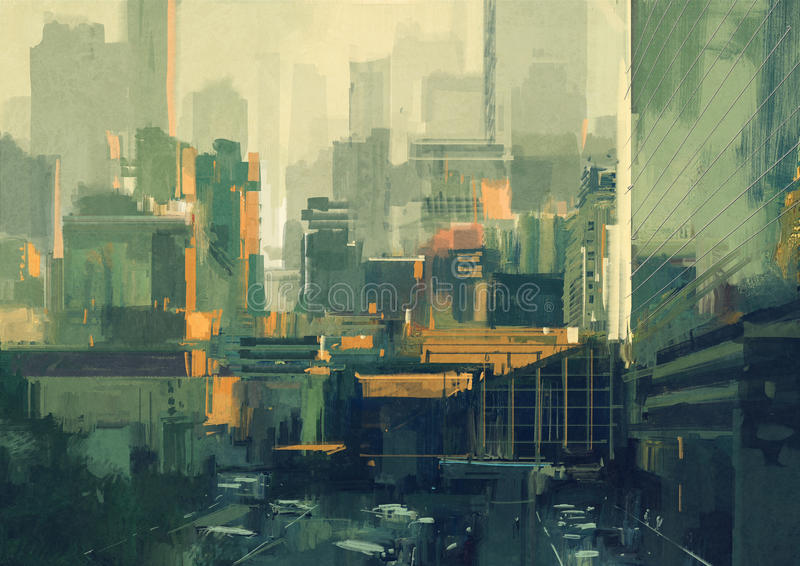 Céu-raspadores urbanos no por do sol ilustração royalty free