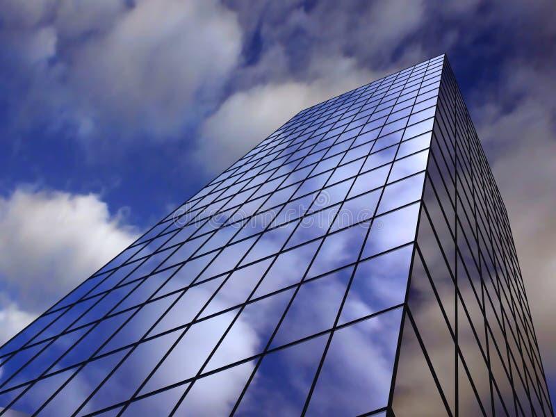 Céu refletindo do edifício alto do negócio ilustração do vetor