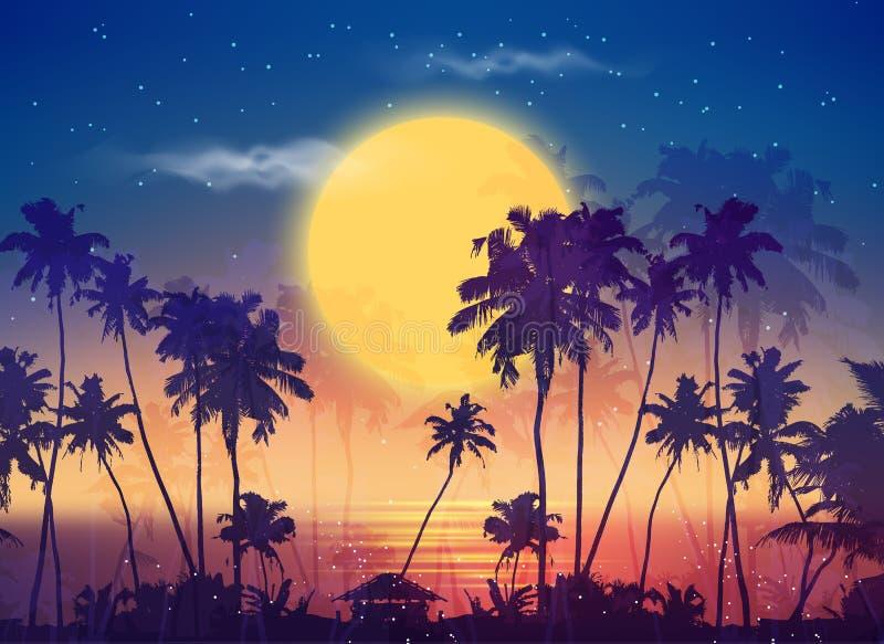 Céu retro da Lua cheia do estilo com silhuetas da palma ilustração do vetor