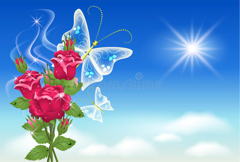 Céu, rosas, e borboleta. ilustração royalty free