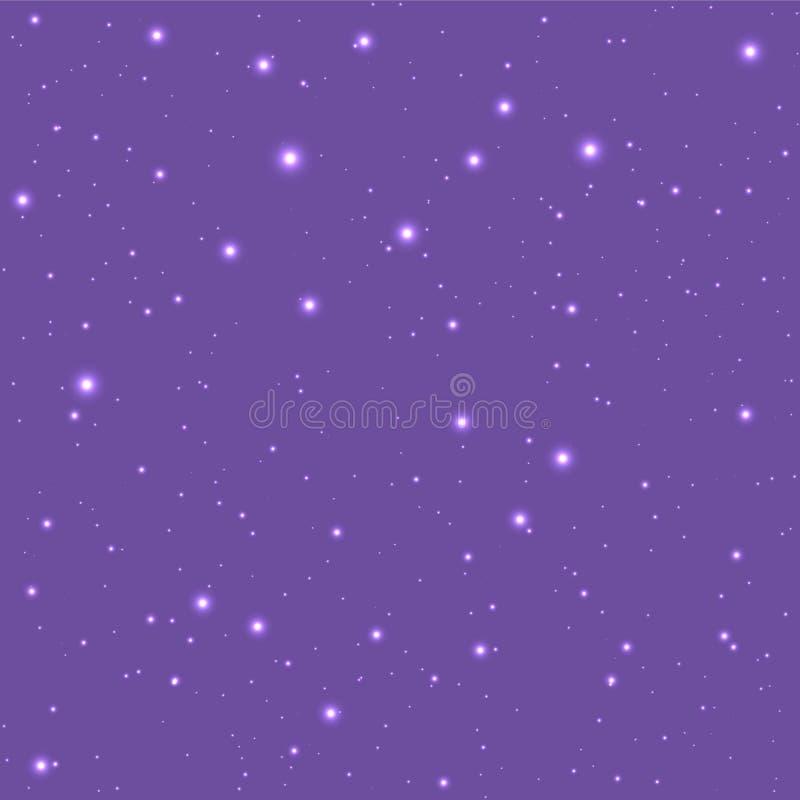 Céu roxo abstrato com estrelas ilustração do vetor