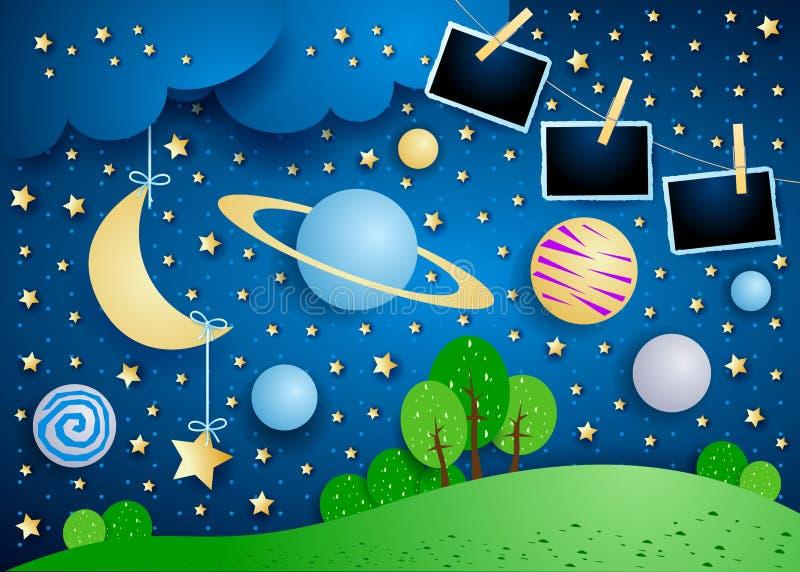Céu surreal com planeta, a lua de suspensão e os quadros da foto ilustração do vetor