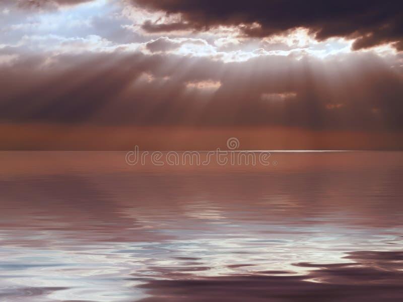 Céu tormentoso do mar calmo imagem de stock